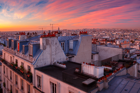 Aerial view from Montmartre over roofs at nice sunrise, Paris, France 版權商用圖片