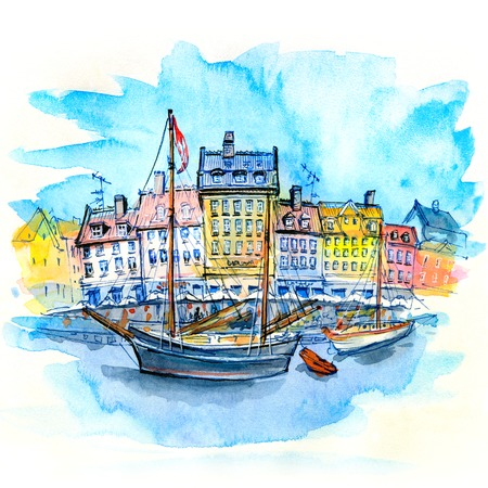 Watercolor sketch of Nyhavn with colorful facades of old houses and old ships in the Old Town of Copenhagen, capital of Denmark. Фото со стока