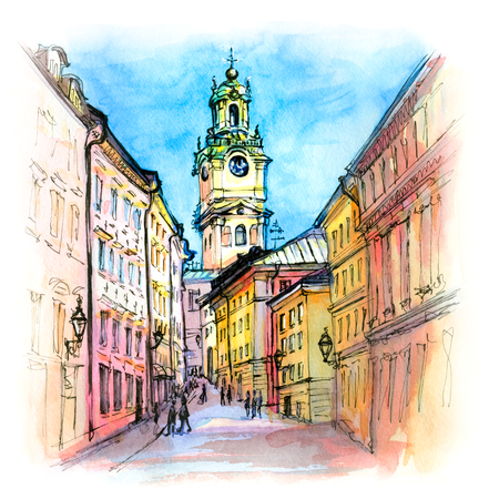 Watercolor sketch of Church of Stockholm Cathedral in Gamla Stan, Old Town of Stockholm, the capital of Sweden Stock Photo