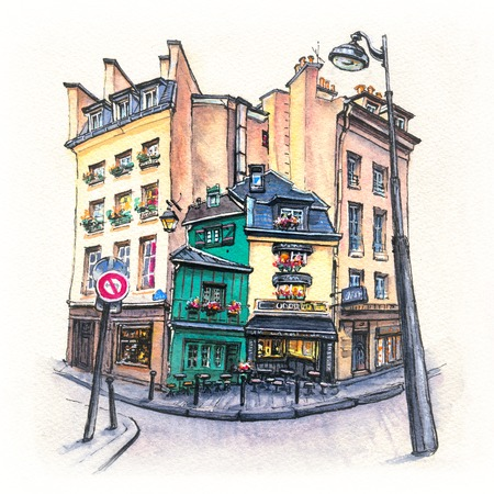 Watercolor sketch of Typical parisain street with old houses, cafe and lanterns in Paris, France. Фото со стока - 110388206