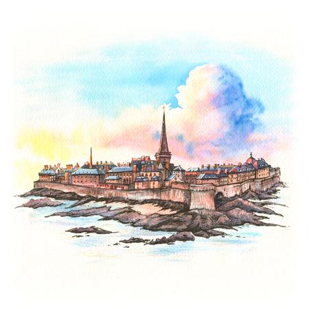 Schizzo ad acquerello della bellissima città murata Intra-Muros a Saint-Malo, conosciuta anche come città corsara, Bretagna, Francia Archivio Fotografico