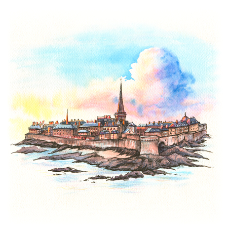 Watercolor sketch of beautiful walled city Intra-Muros in Saint-Malo, also known as city corsaire, Brittany, France