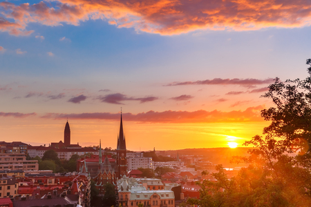 Scenic aerial view of the Old Town with Oscar Fredrik Church in the gorgeous sunset, Gothenburg, Sweden. Stock Photo