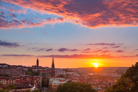 Scenic aerial view of the Old Town with Oscar Fredrik Church in the gorgeous sunset, Gothenburg, Sweden. Banco de Imagens