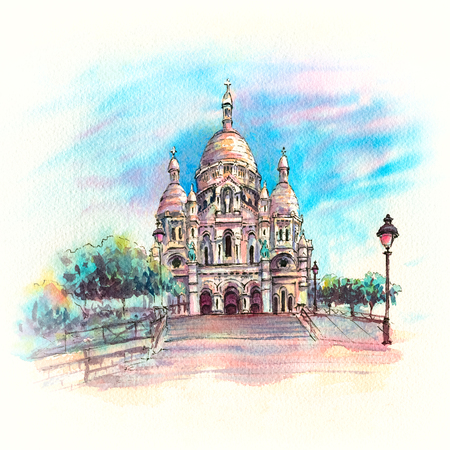 Watercolor sketch of Basilica of the Sacred Heart of Paris or Sacre-Coeur in quarter Montmartre, Paris, France.