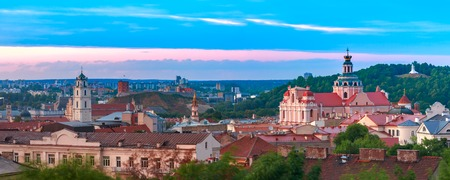 Aerial view over Old town with Gediminas Castle Tower, churches and Three Crosses on the Bleak Hill at sunrise, Vilnius, Lithuania, Baltic states. Stock fotó - 118903719