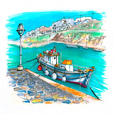 Pier with fishing boats in harbour of Mykonos City, Chora, Mykonos, Greece. Picture made markers Banco de Imagens