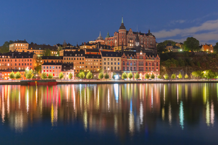 Sodermalm waterfront in the Old Town at night in Stockholm , capital of Sweden