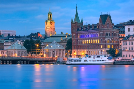 Scenic view of Gamla Stan with Stockholm Cathedral, in the Old Town in Stockholm at night, capital of Sweden 版權商用圖片