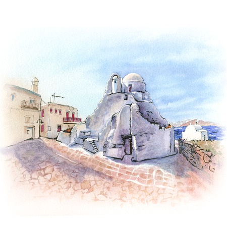 Watercolor sketch of Church of Panagia Paraportiani, the most famous architectural structures in Greece, on the island Mykonos, Greece Stock Photo