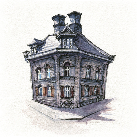 Watercolor sketch of Typical Danish house in district Nyboder, Copenhagen, capital of Denmark Фото со стока - 118901424