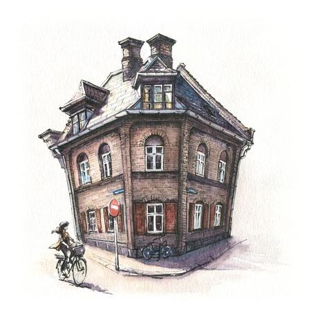 Watercolor sketch of Typical Danish house in district Nyboder, Copenhagen, capital of Denmark