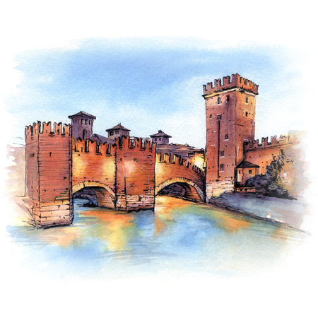 Medieval stone Scaliger Bridge and tower of Castelvecchio at night, Verona, Northern Italy.
