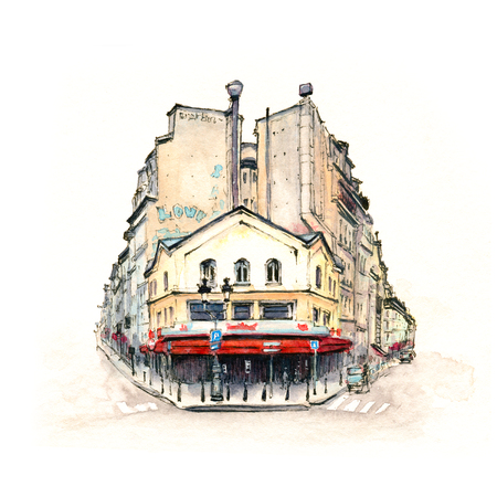 Watercolor sketch of Typical parisain house with cafe and lanterns, Paris, France. Фото со стока