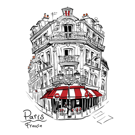 Vector hand drawing. Typical parisain house with cafe and lanterns, Paris, France.