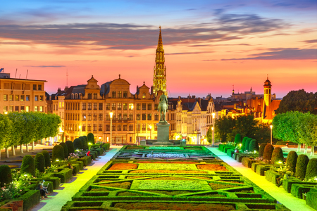 Brussels City Hall and Mont des Arts area at sunset in Brussels, Belgium Stock Photo