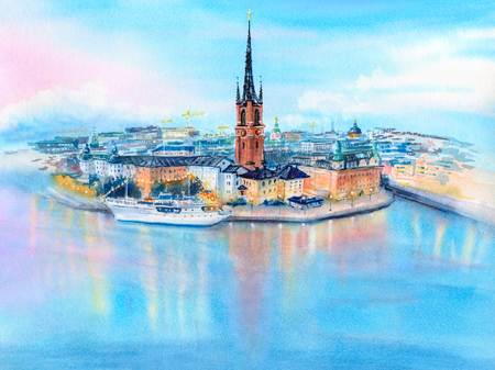 Watercolor sketch of Riddarholmen, Gamla Stan, in the Old Town in Stockholm at sunset, the capital of Sweden Stock Photo