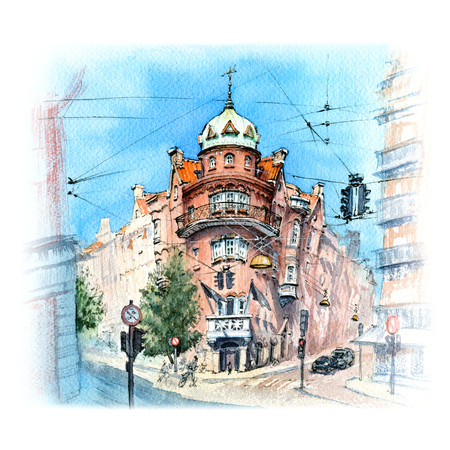 Watercolor sketch of fairytail Danish house in Old Town of Copenhagen, capital of Denmark Stock Photo