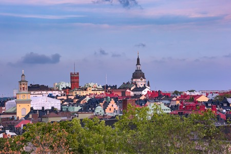 Sodermalm with Church of Catherine in the Old Town in Stockholm , capital of Sweden