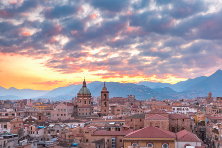 Aerial view of Palermo at sunset, Sicily, Italy
