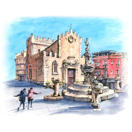 Watercolor sketch of Cathedral of Taormina and fountain on the square Piazza Duomo in Taormina, Sicily, Italy Stock Photo