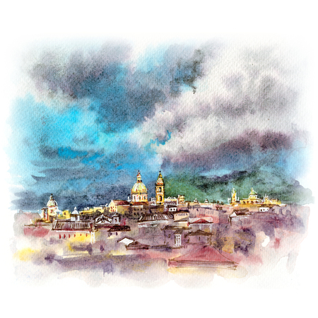 Watercolor sketch of Palermo at sunset, Sicily, Italy