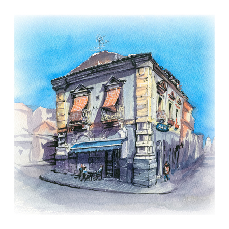 Watercolor sketch of Typical Italian house in Catania, Sicily, Italy