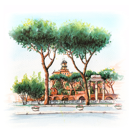 Watercolor sketch of Typical Roman tower, ruins and Stone pine trees in the old city in Rome, Italy.