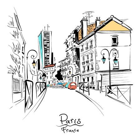 Vector disegno a mano. Strada di Parigi con case tradizionali e lanterne, Parigi, Francia. Vettoriali
