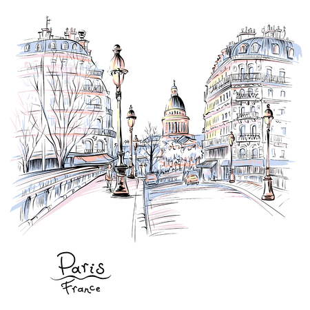 Vector hand drawing. Bridge across river Seine Pont Louis Philippe near the Ile de la Cite in the winter morning, Pantheon in the background, Paris, France. Illustration