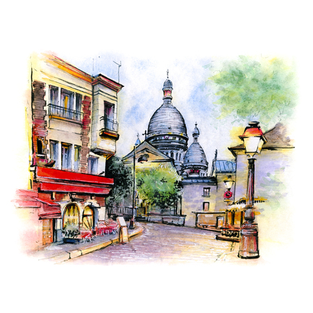 Watercolor sketch the Place du Tertre with tables of cafe and the Sacre-Coeur in the morning, quarter Montmartre in Paris, France