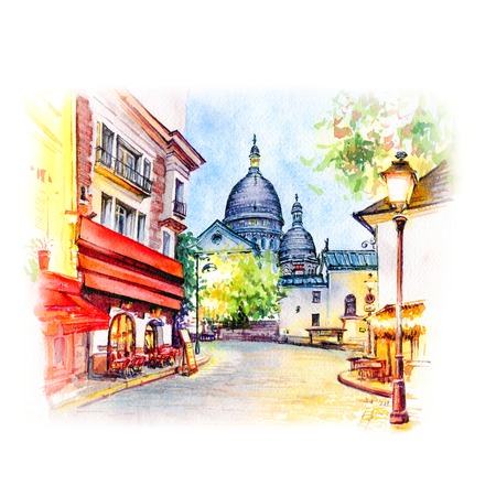 Watercolor sketch the Place du Tertre with tables of cafe and the Sacre-Coeur in the morning, quarter Montmartre in Paris, France Banco de Imagens