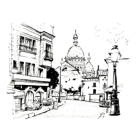 Black and white sketch of The Place du Tertre with tables of cafe and the Sacre-Coeur in the morning, quarter Montmartre in Paris, France Stock Photo