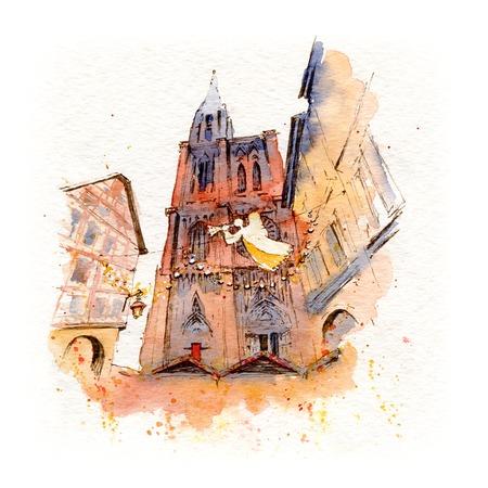 Aquarellskizze des Straßburger Münsters mit Weihnachtsdekoration, Straßburg, Elsass, Frankreich Standard-Bild