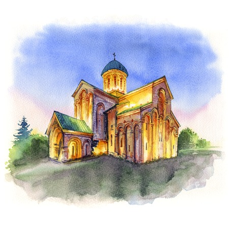 Watercolor sketch of Kutaisi Cathedral, more commonly known as Bagrati Cathedral during evening blue hour, Kutaisi, Imereti, Georgia