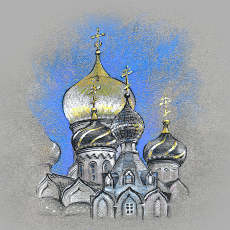 Typical golden orthodox church domes. Picture made by pastel Stock Photo