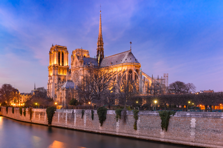 Cathedral of Notre Dame de Paris at night, destroyed in a fire in 2019, Paris, France 版權商用圖片