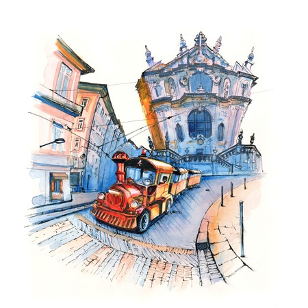 Watercolor sketch of Tourist train against the background of Facade of the Clerigos Church, Porto, Portugal