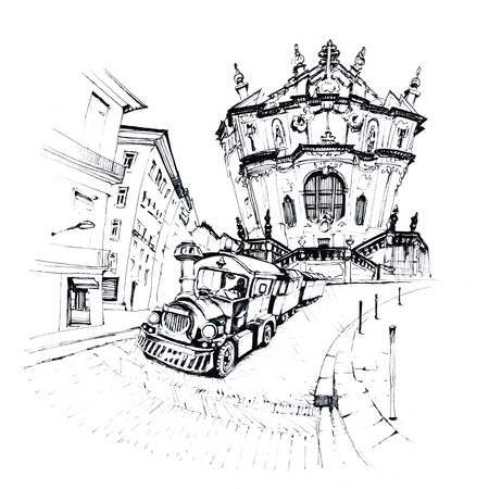 Black and white sketch of tourist train against the background of Facade of the Clerigos Church, Porto, Portugal