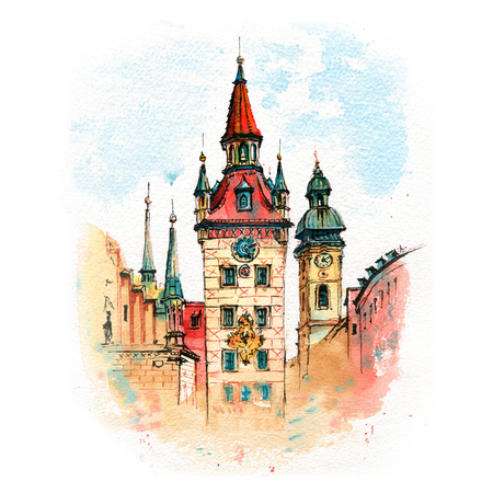 Watercolor sketch of Old Town Hall on the central square Marienplatz in Munich, Bavaria, Germany