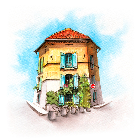 Watercolor sketch of typical Provencal house in sunny summer day, Arles, Provence, France Фото со стока - 124426337