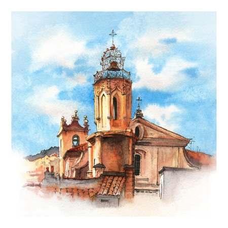 Watercolor sketch of Belltower of church of the Holy Ghost in Aix-en-Provence, Provence, France Фото со стока