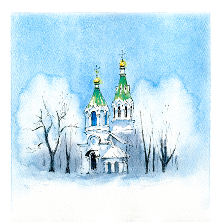 Watercolor sketch of typical orthodox church in the snowy winter day.