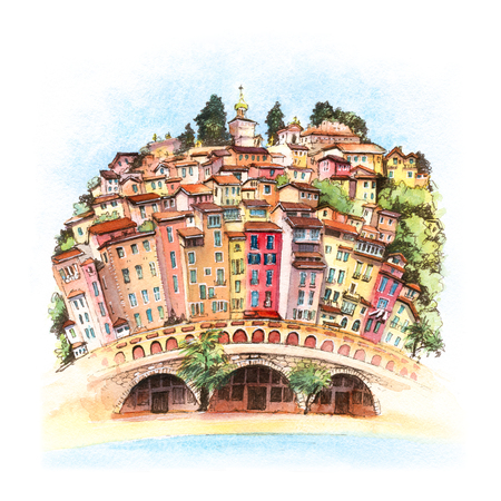 Watercolor sketch of colorful old town and beach in sunny Menton, perle de la France, on French Riviera, France