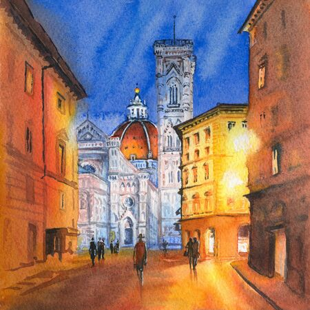 Watercolor sketch of Famous Duomo Santa Maria Del Fiore, Baptistery and Giottos Campanile on the Piazza del Duomo in Florence, Tuscany, Italy