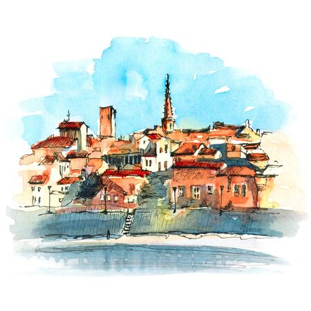 Watercolor sketch of embankment of Arles with churches, towers and old houses of Old Town, Arles, southern France
