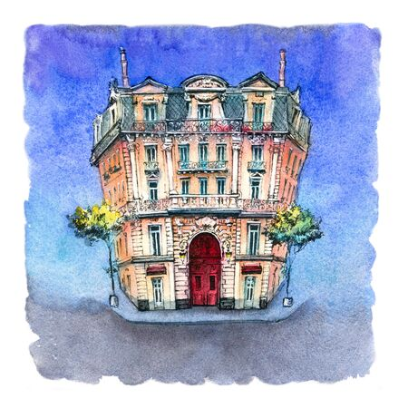 Watercolor sketch of Typical french house in Marseille, France.
