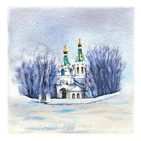 Watercolor sketch of typical orthodox church in the snowy winter day. Фото со стока - 126194260