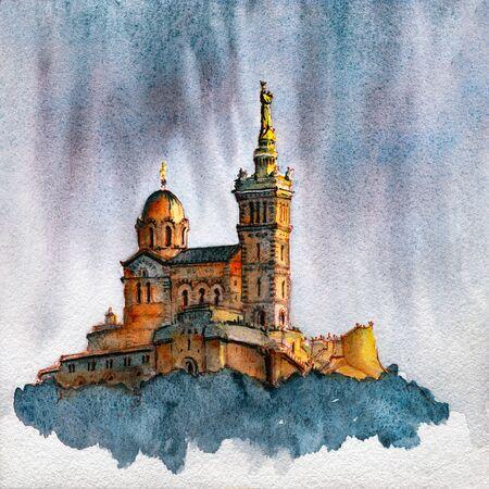 Watercolor sketch of Basilica of Notre Dame de la Garde, Marseille, France