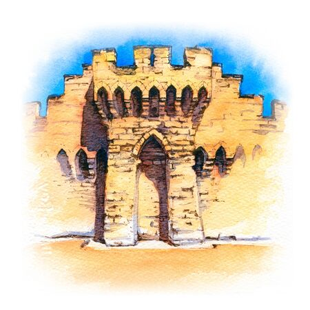 Watercolor sketch of Famous medieval city walls of Avignon, Provence, southern France